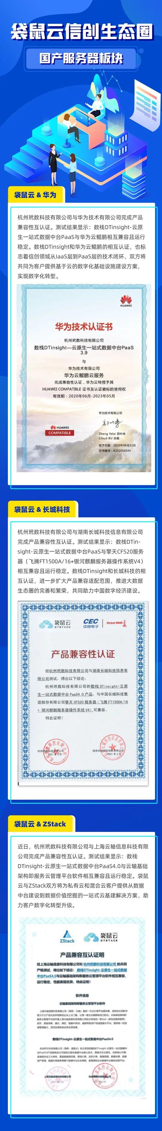 袋鼠云信创认证新动态|数栈DTinsight与10家信创厂家完成产品兼容互认证